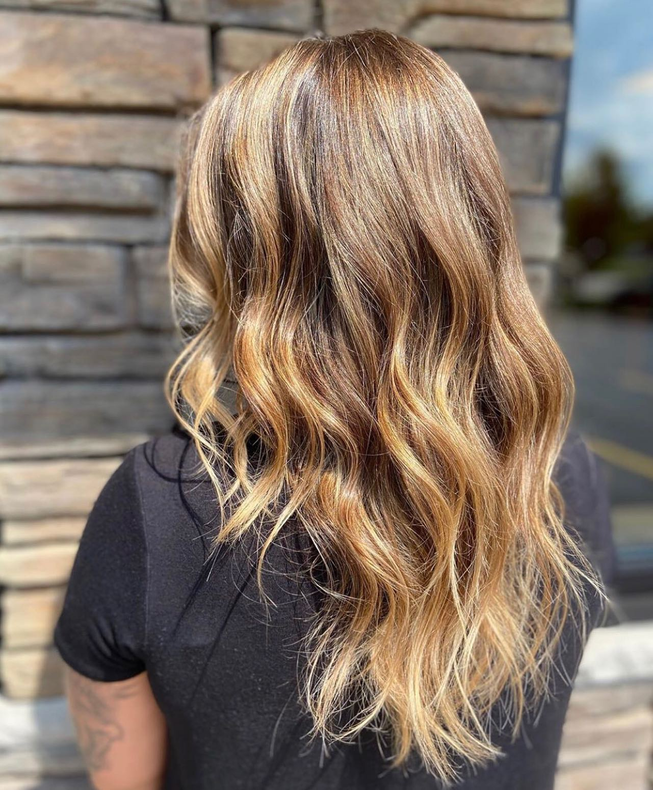 blonde highlights hair back view
