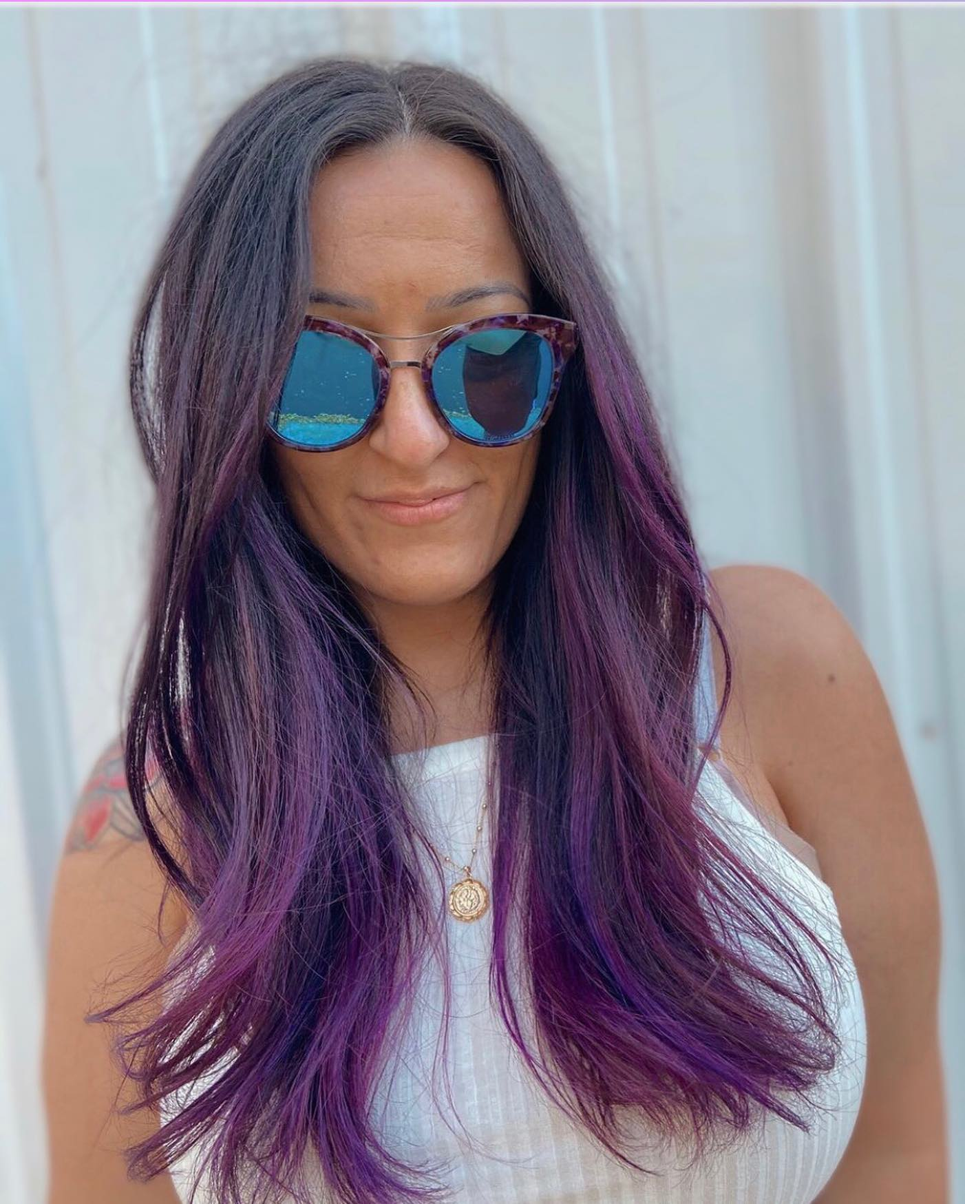 woman with purple highlights in hair