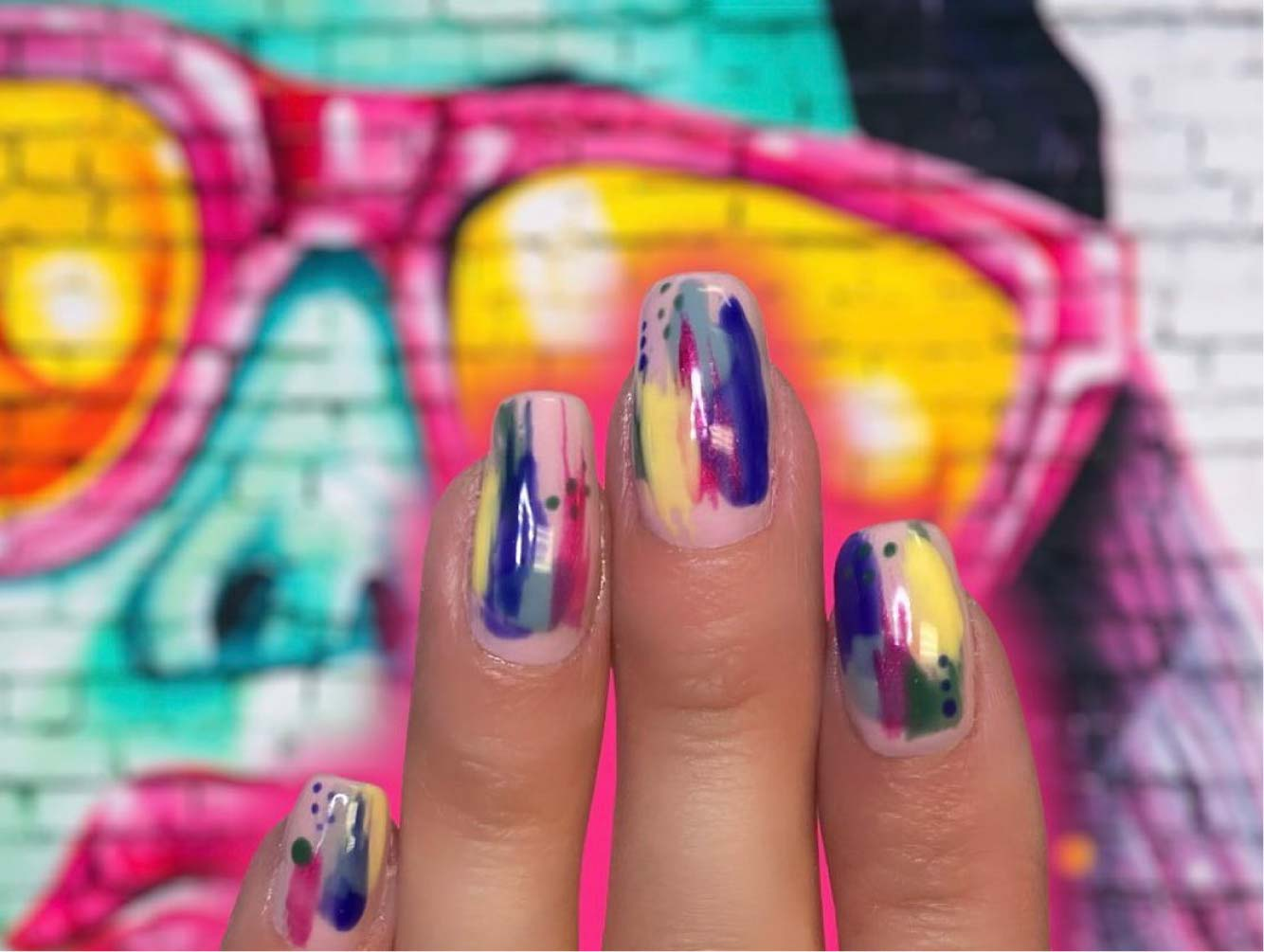 multi colored acrylic nails