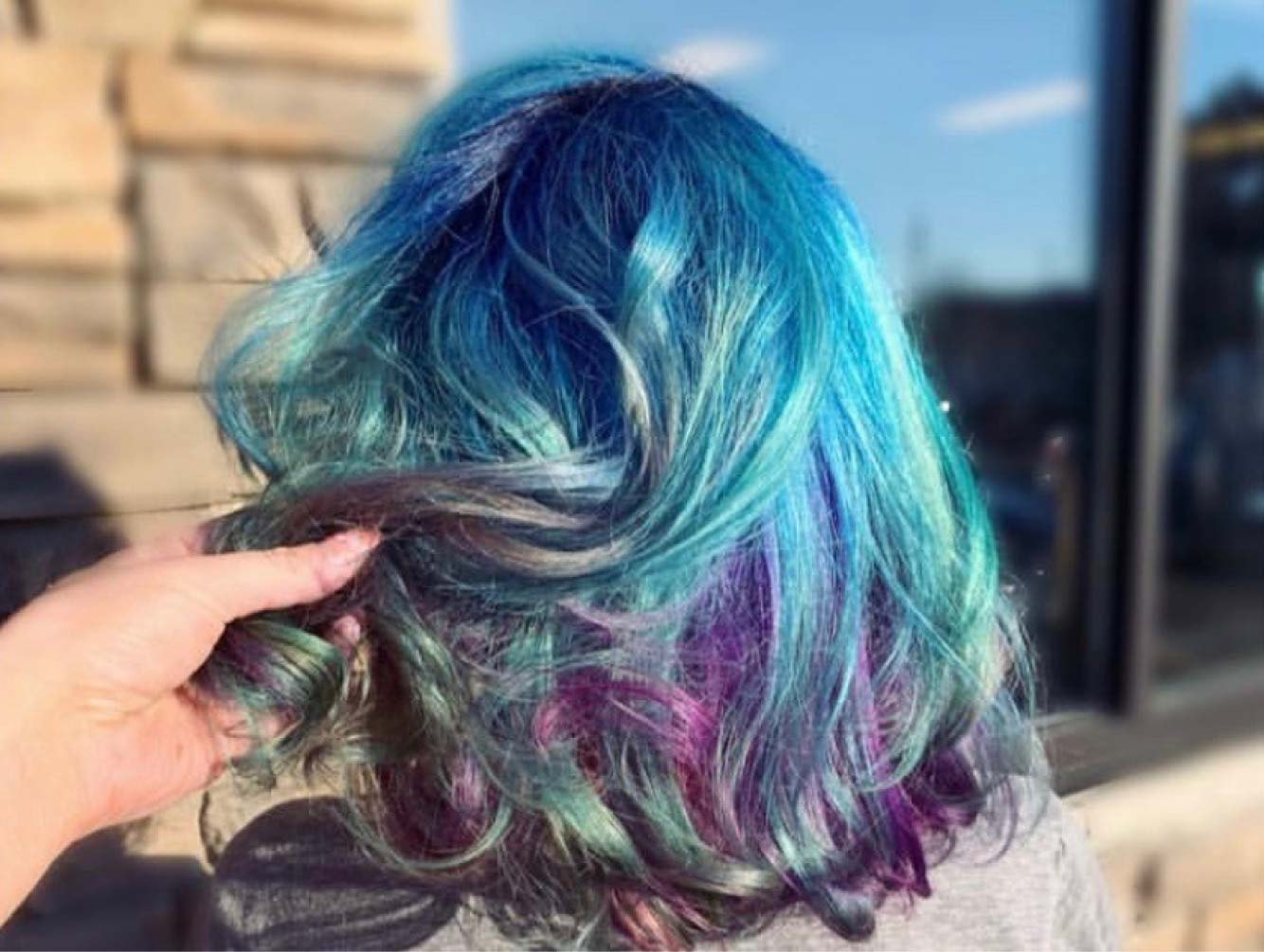 rainbow color hair back view
