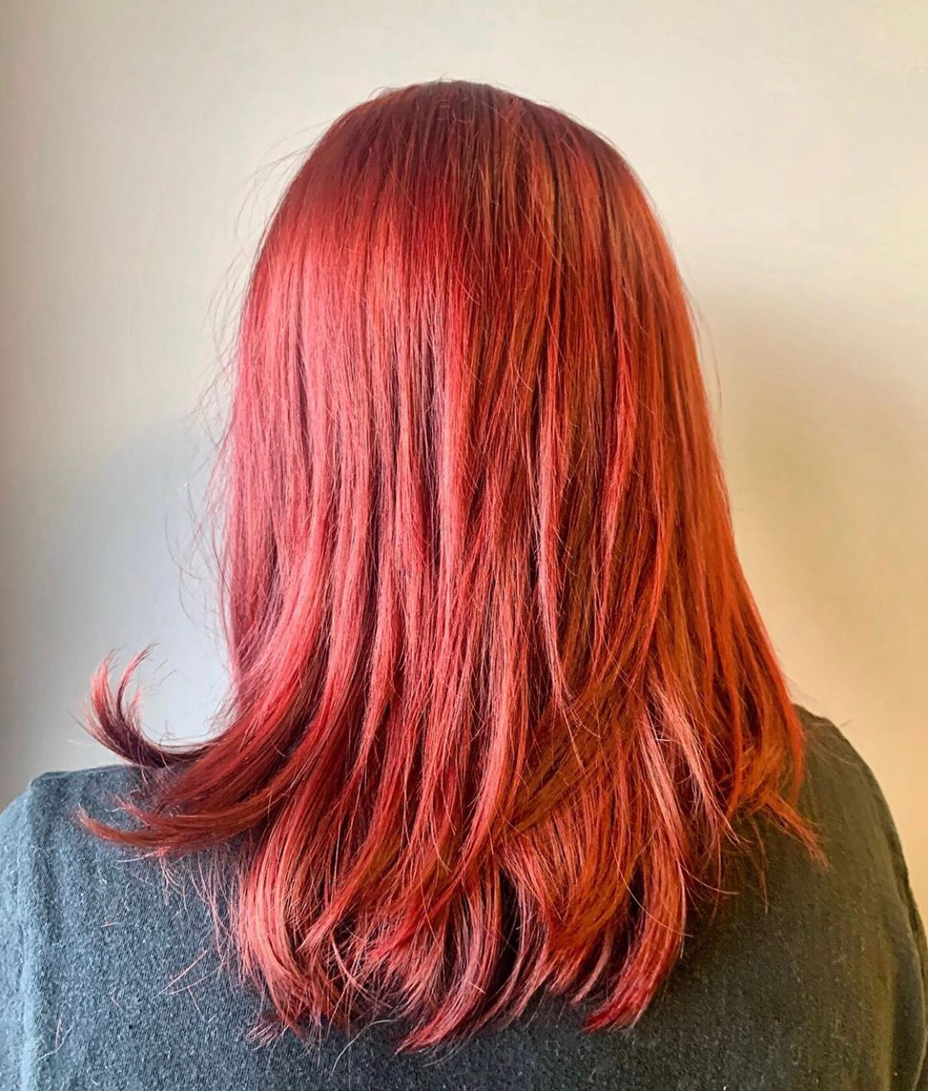 vibrant red hair back view
